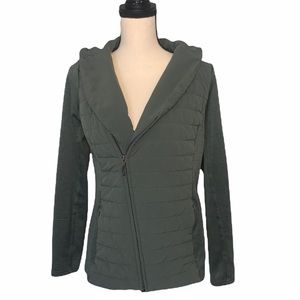 The North Face Green Asymmetrical Zip Up Hooded Jacket Sz Medium